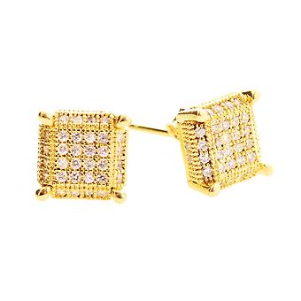 925 Silver MICRO PAVE earrings - PURE 8 mm gold