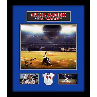 Hank Aaron ondertekend Foto Collage in aangepaste Frame w / Steiner COA