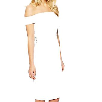 ASOS Petite Exclusive Bardot Pencil Dress with Strappy Back DR905-White-16