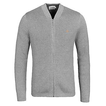 Farah Usher Gravel Grey Marl Knitted Full Zip Sweatshirt