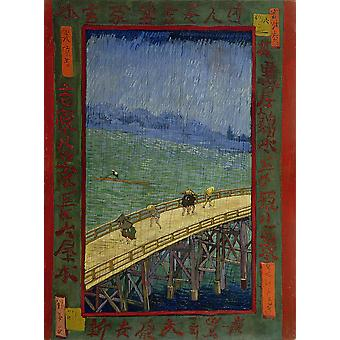 Vincent Van Gogh - Japanese - The Bridge in the Rain Poster Print Giclee