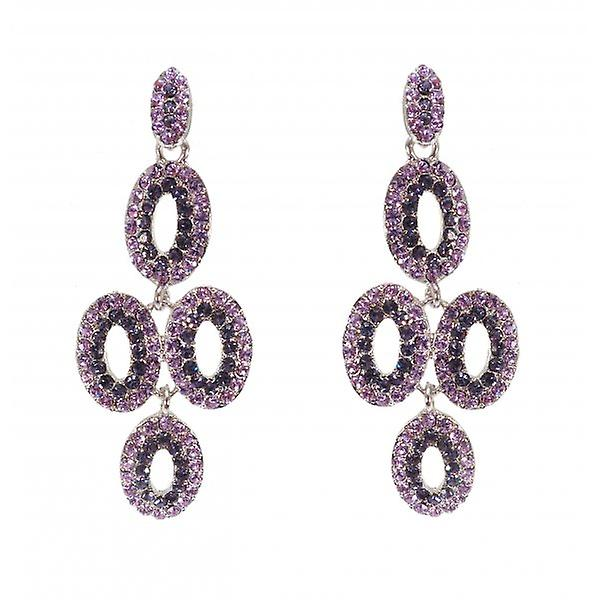W.A.T Silver Sparkling Mauve & Lilac Shaped Chandelier Fashion Earrings