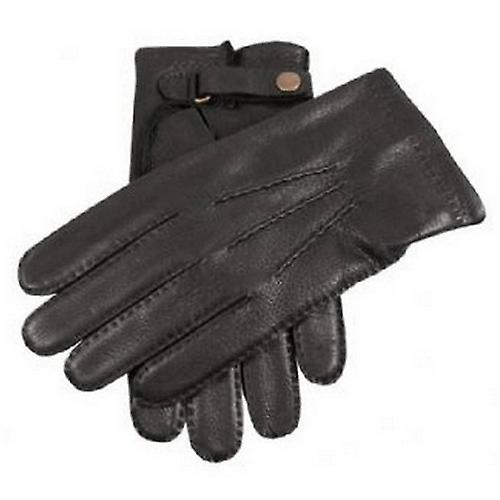 Dents Deerskin Leather Gloves with Strap - Black