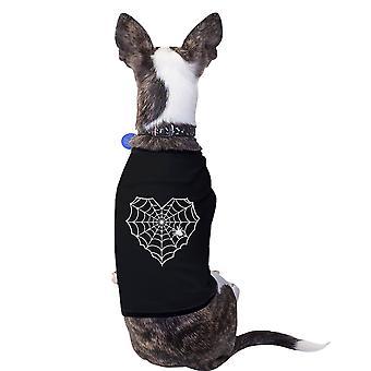 Herz Spider Web schwarzes Pet Shirt lustige Grafik kleiner Hund Shirt Geschenk