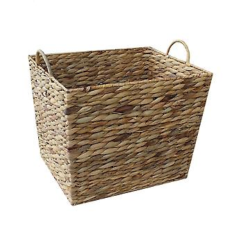 Medium Water Hyacinth Rectangular Tapered Storage Basket