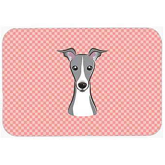Checkerboard Pink Italian Greyhound Mouse Pad, Hot Pad or Trivet