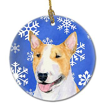Bull Terrier Winter Snowflakes Holiday Christmas Ceramic Ornament SS4634