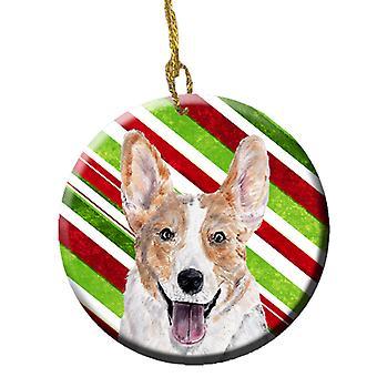 Cardigan Corgi Candy Cane Christmas Ceramic Ornament