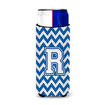 Letter R Chevron Blue and White Ultra Beverage Insulators for slim cans