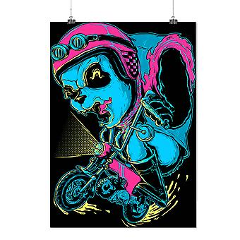 Matte or Glossy Poster with Evil Panda Ride Biker | Wellcoda | *d2073
