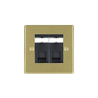 Hamilton Litestat Hartland Satin Brass 2g RJ45 CAT5E Unshielded BL