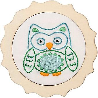 My 1st Stitch Blue Owl Mini Stamped Embroidery Kit-4
