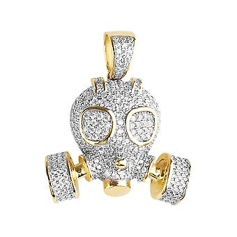 Premium Bling - 925 sterling silver 3D gold gas mask