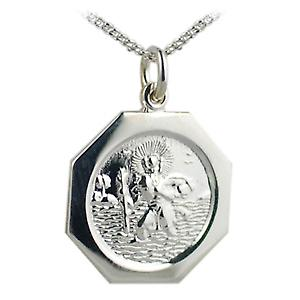 Silver 21x21mm hexagonal St Christopher with Curb chain