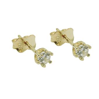 Stud earrings 4mm zirconia 9k gold