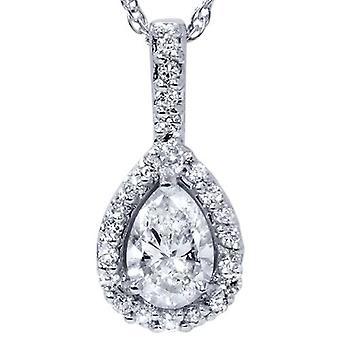 3 / 8ct päronformad Fancy 14 k Solitaire diamant hänge