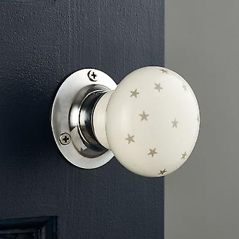 White and Grey Stars Ceramic Mortice Door Knobs