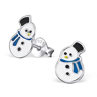 Snowman - 925 Sterling Silver Colourful Ear Studs