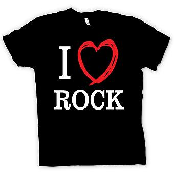 تي شيرت رجالي--أنا أحب موسيقى الروك-اقتباس
