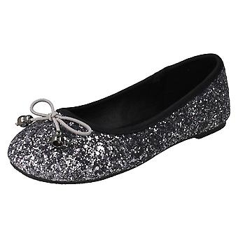 Girls Spot On Glitter Ballerinas H2488 - Silver Glitter - UK Size 13 - EU Size 32 - US Size 1