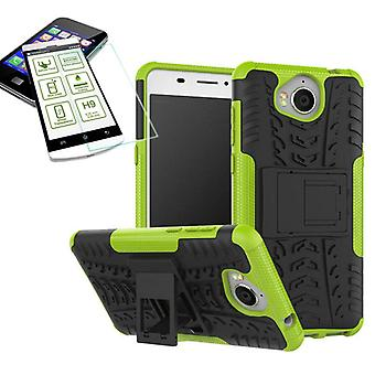 Hybrid case 2 piece green for Huawei Y6 2017 + tempered glass bag case cover new