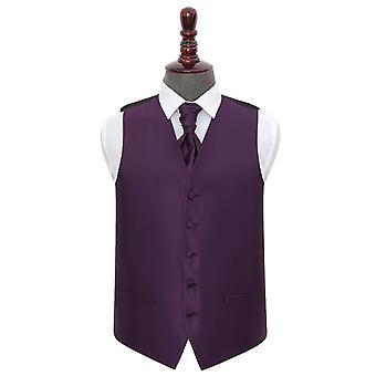 Cadbury Purple Solid Check Wedding Waistcoat & Cravat Set