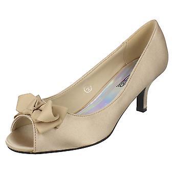 Ladies Spot Peep Toe hælene med bue Trim