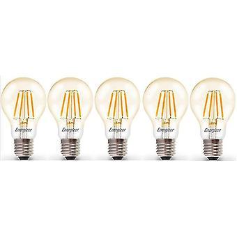 5 X Energizer 6.2W = 60W LED Filament GLS Light Bulb Lamp Vintage ES E27 duidelijk Edison schroefdraad [energie klasse A +]