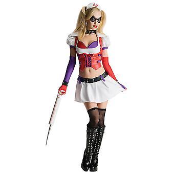 Harley Quinn Arlequin infirmière Supervillain Batman Arkham Asylum Womens Costume