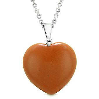 Lucky Puffy Heart Charm Crystal Red Jasper Good Luck Will Powers Amulet Pendant Necklace