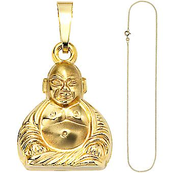 Followers of Buddha 333 gold yellow gold with chain 50 cm