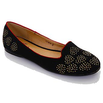 Ladies Flat Gold Diamante Heart Elegant Red Trim Smart Women's Loafer Shoes
