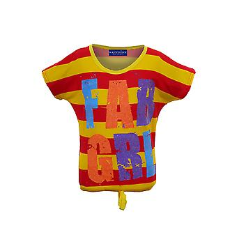Childrens Stripe Multi Colour  Casual Top Kids Fab Girl Sparkly Party T-Shirt
