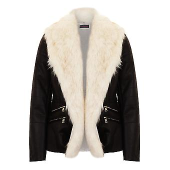 Ladies Open Front White Faux Fur Collar Lined PU Leather Short Biker Jacket
