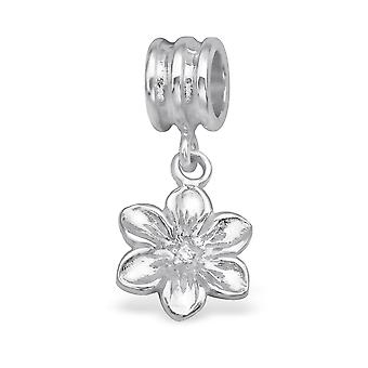 Flower - 925 Sterling Silver Jewelled Beads - W28907x