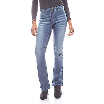 Aniston classic women's jeans with lace short size blue