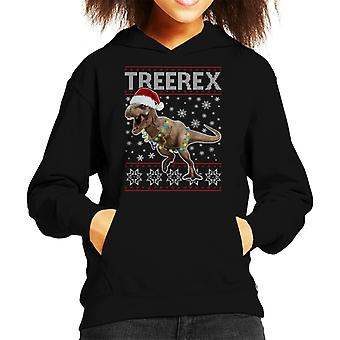 Christmas TreeRex Christmas Dinosaur Kid's Hooded Sweatshirt