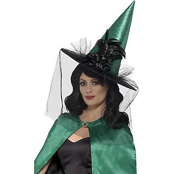 Deluxe Sorceress Witch Hat, Teal, with Feathers & Netting