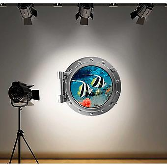 Full Colour Tropical Fish Under Water Ocean Porthole Wall Sticker