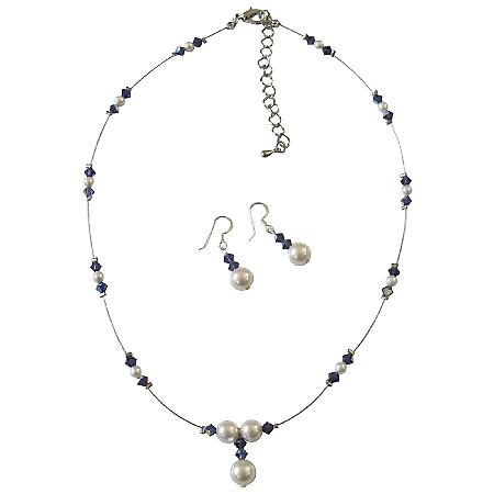 Purple Voilet AB Crystals Jewelry Set w/ White Pearls Bridal Bridesmaid Necklace Set Genuine Swarovski Crystals & Pearls