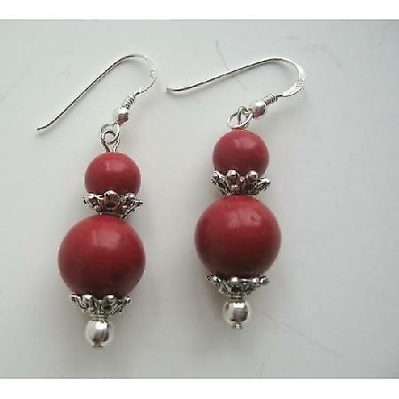 Round Coral Bead Party Earrings Sterling Silver Coral Stone Beaded