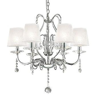 Ideal Lux - Senix Chrome And Crystal Six Light Chandelier IDL032597