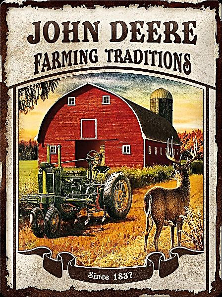 John Deere Farming Traditions large embossed steel sign  (na 3040)