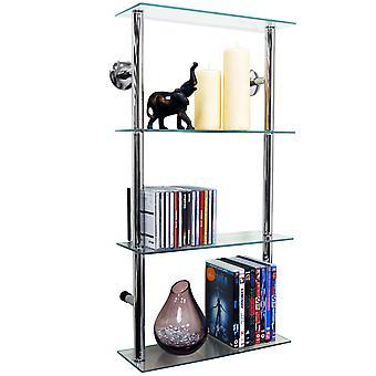 Maxwell - Wand montiert 4-Tier Glas 90 Cd / 60 Dvd Aufbewahrung Regale - klar / Silber