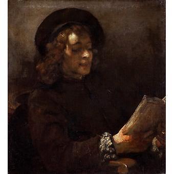 Des Künstlers Sohn Titus van Rijn, lesen, REMBRANDT, 50x45cm