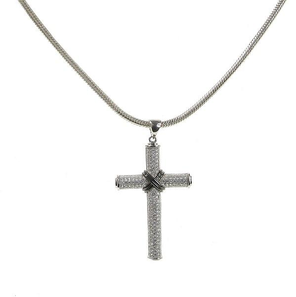 Cavendish French Silver & Cubic Zirconia Crossed Cross Pendant without Chain