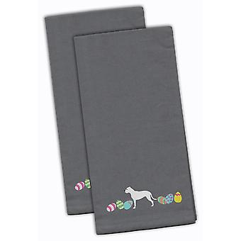 Pit Bull Terrier Easter Gray Embroidered Kitchen Towel Set of 2