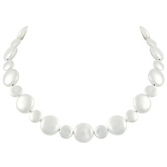 Eternal Collection Etiquette White Shell Coin Pearl Silver Tone Statement Necklace