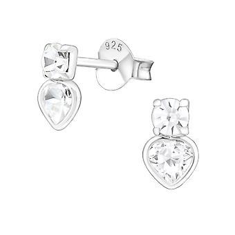 Corazón - 925 plata Circonita zarcillos - W17578X