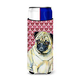 Pug Hearts Love and Valentine's Day Portrait Ultra Beverage Insulators for slim